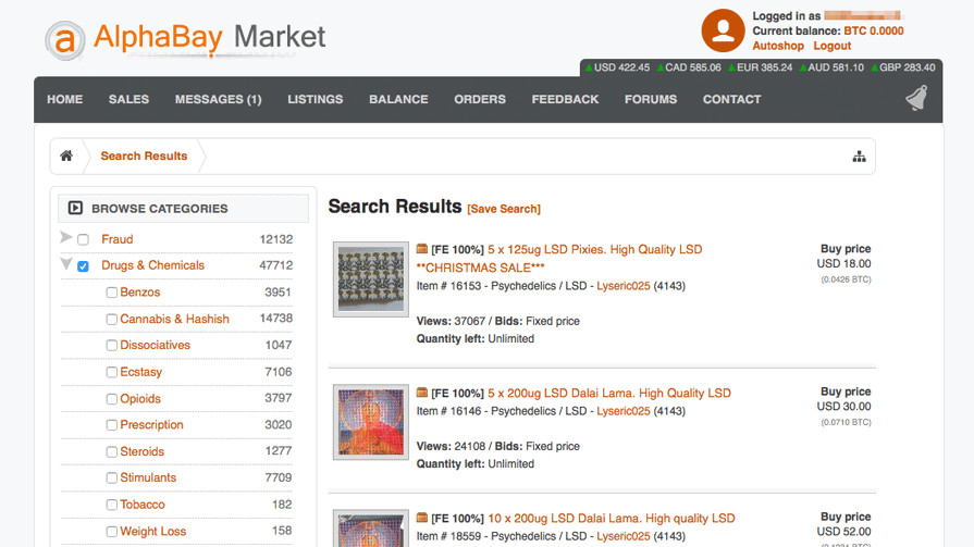 AlphaBay Market Screenshot